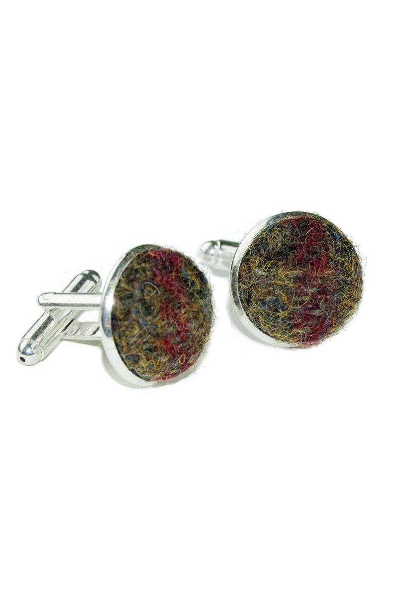 Tweed & Silver Plated Cuff-links (Glencoe)