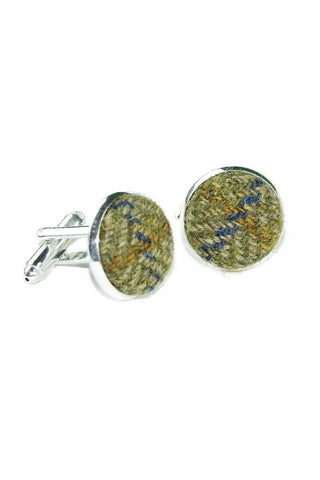 Tweed & Silver Plated Cuff-links (Glenelg)