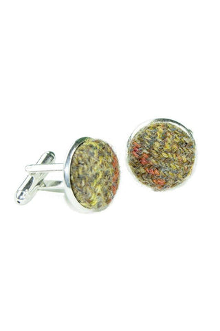 Tweed & Silver Plated Cuff-links (Glenlyon)