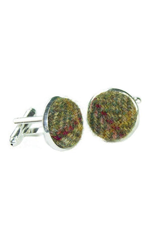 Tweed & Silver Plated Cuff-links (Kenmore)