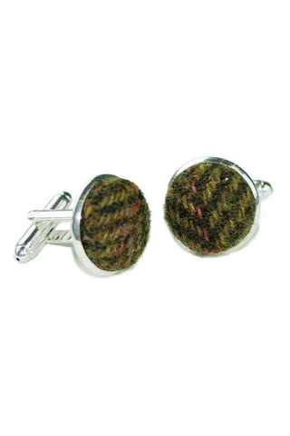 Tweed & Silver Plated Cuff-links (Kilda)