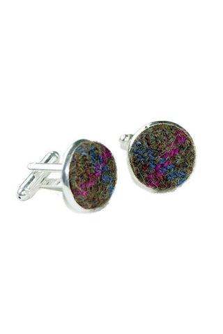 Tweed & Silver Plated Cuff-links (Morvern)