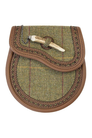 Luxury Tweed Brogued Day Wear Sporran with Stag Horn Closure