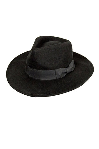 Unisex Black Wool Felt Fedora Hat