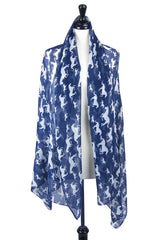 Multi-Tie Scarf (Galloping Indigo & White)