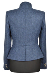 Great Scot Lieutenant Jacket Coat Blue Herringbone Tweed Victorian