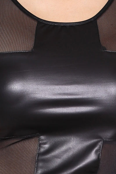 Faux Leather Cross Top