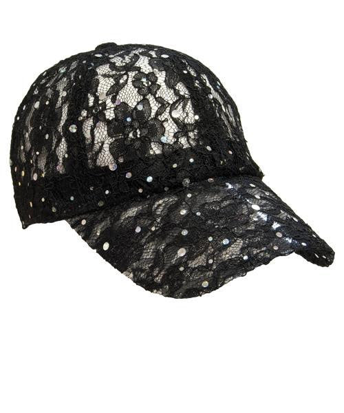 Lace Sparkle Cap - Black