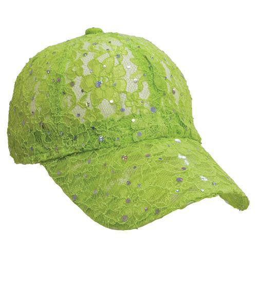 Lace Sparkle Cap - Lime