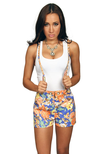 Sexy Floral Suspender Shorts