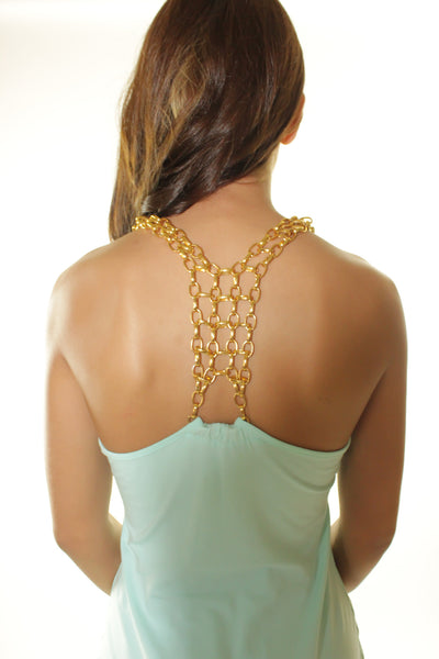 Mint and gold chain dress