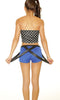 Blue and Black Suspender Shorts