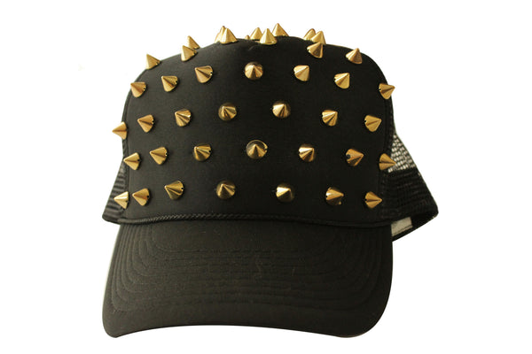 Black Spiked Trucker Hat