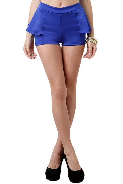 Blue Peplum Shorts