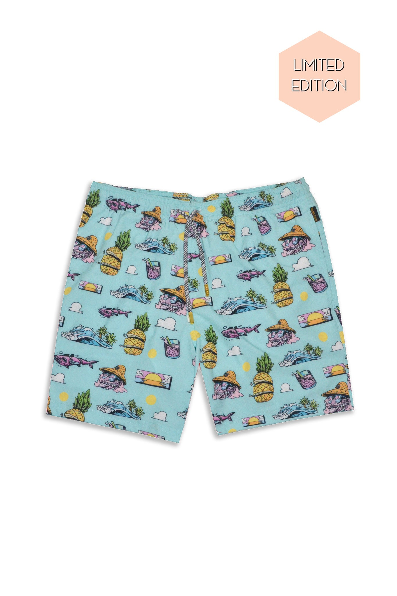 flat lay men tropical swim trunk