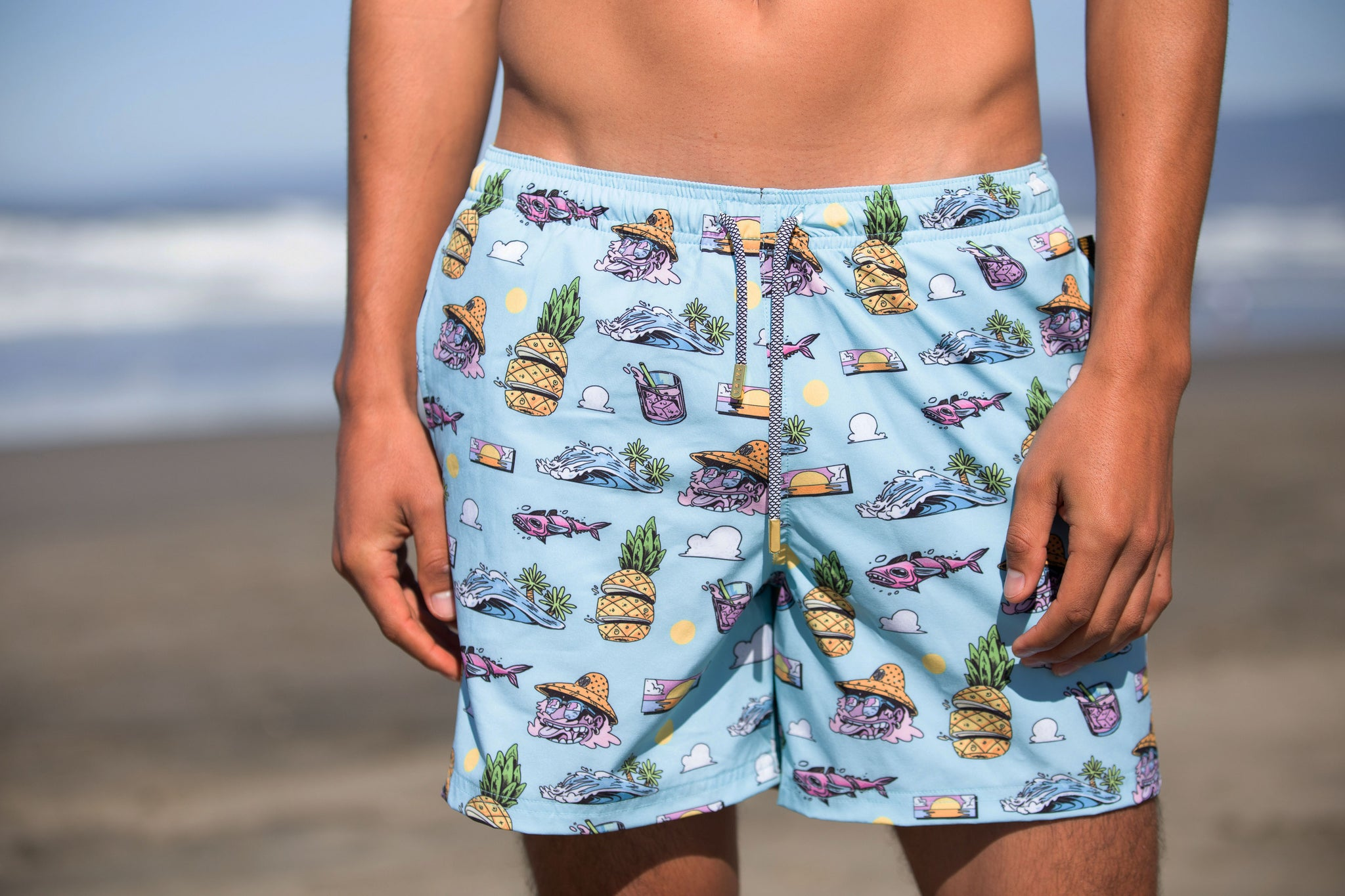 Close up of tropical swim trunk