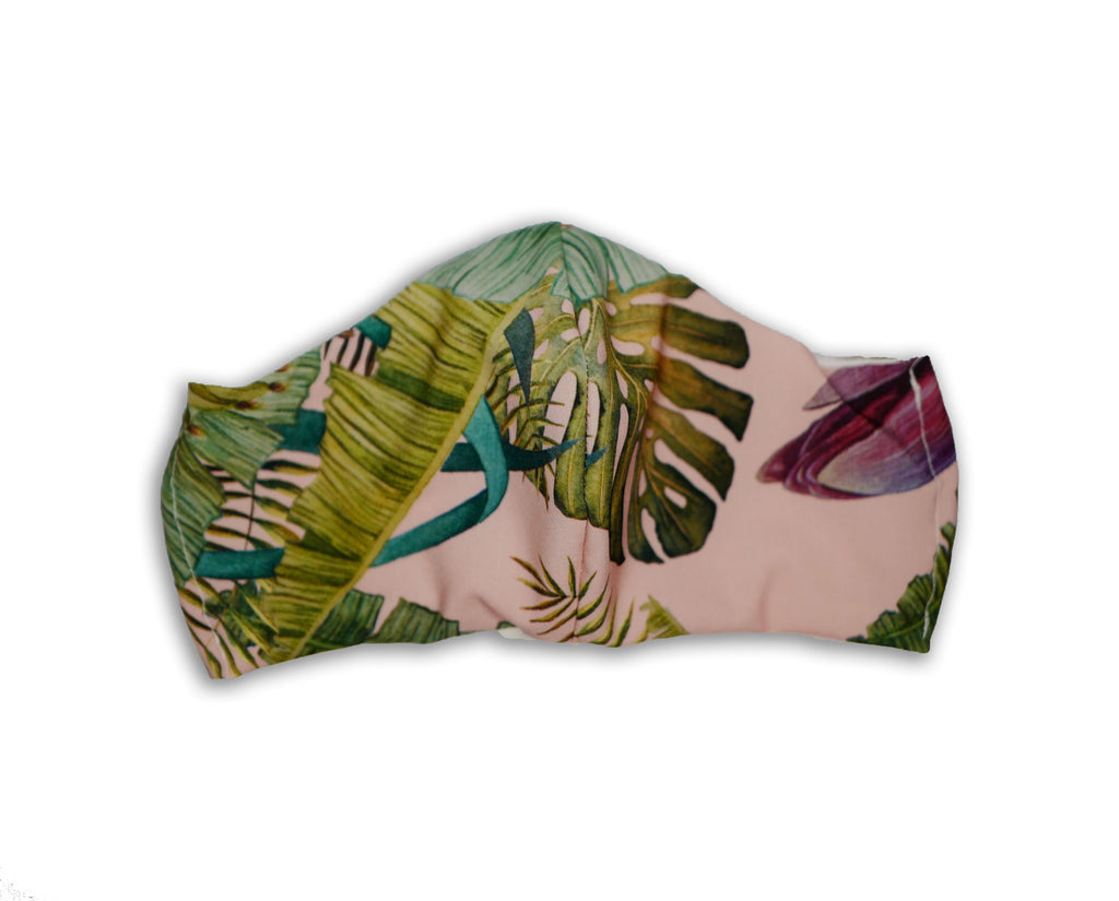 face mask cover in a tropical print