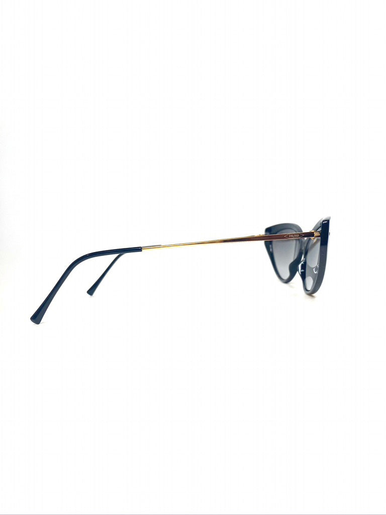 side view of black cat eye sunglasses