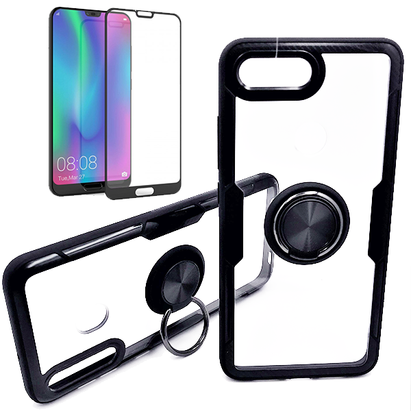 Kit Capa 3x1 Phonecare Clear Armor + Película Vidro Temperado 5D Full Cover Honor 10