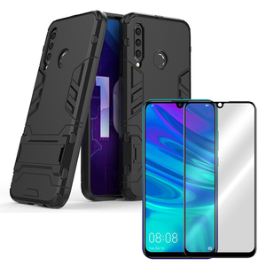 Kit Película de Vidro 5D Full Cover + Capa 3X1 Military Defender - Huawei Honor 20 Lite