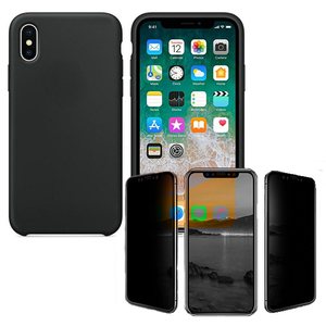 Kit Película de vidro anti-spy + Capa Silicone Liquido - Iphone XR