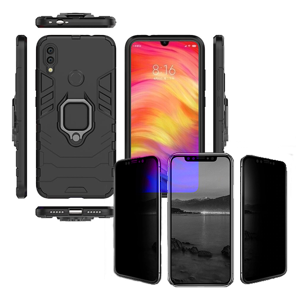 Kit Película 5D Anti-Spy + Capa 3X1 Military Defender - Xiaomi Redmi Note 7