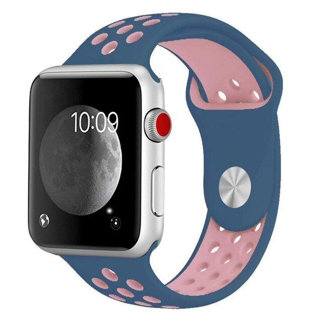 Pulseira Bracelete SportyStyle - Apple Watch Series 3 - 38mm - Azul Escuro / Rosa