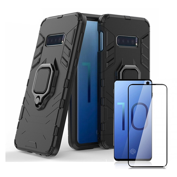 Kit Película de Vidro 5D Full Cover + Capa 3X1 Military Defender - Samsung Galaxy S10 E
