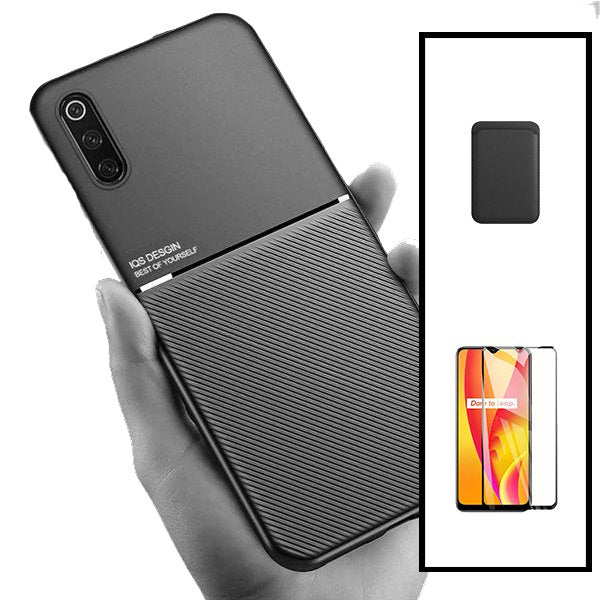 Kit Capa Magnetic Lux + Magentic Wallet Preto + 5D Full Cover - Samsung Galaxy A30s