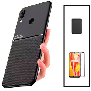Kit Capa Magnetic Lux + Magentic Wallet Preto + 5D Full Cover - Huawei P Smart 2019