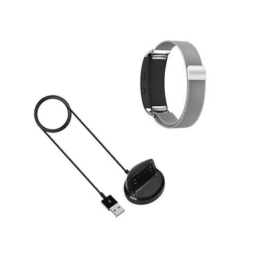 Kit Pulseira Bracelete Milanese Loop Fecho Magnético + Carregador Usb Charger - Samsung Gear Fit 2 - Cinza