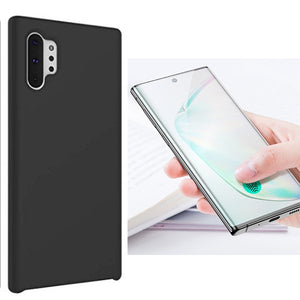 Kit Película de Vidro 5D Full Cover Curved+ Capa Silicone Liquido - Samsung Galaxy Note 10 Plus