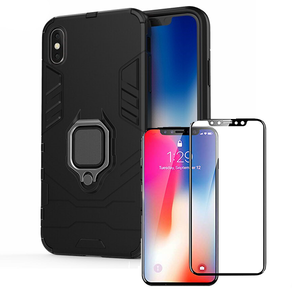 Kit Película de Vidro 5D Full Cover + Capa 3X1 Military Defender - Iphone XS Max