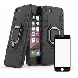 Kit Película de Vidro 5D Full Cover + Capa 3X1 Military Defender - Iphone 5 / 5S / SE