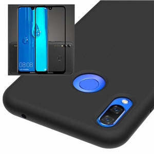 Kit Película de Vidro 5D Full Cover + Capa Silicone Liquido - Huawei P smart + Plus 2019