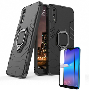 Kit Película de Vidro 5D Full Cover + Capa 3X1 Military Defender - Huawei P20