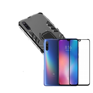 Kit Película de Vidro 5D Full Cover + Capa 3X1 Military Defender - Xiaomi Mi 9