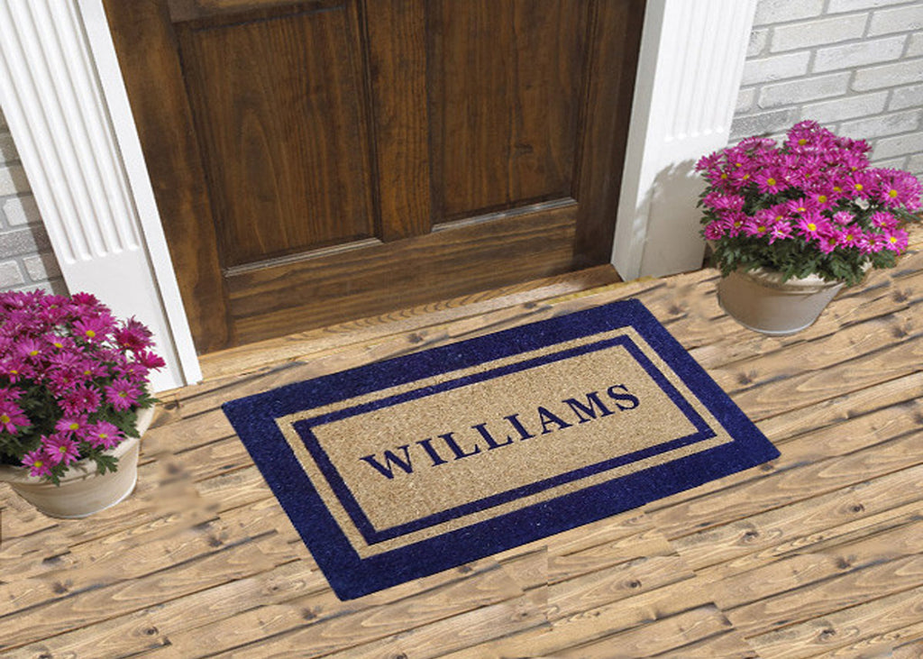 Personalized Coco Doormats - Navy Picture Frame Border - Custom Logo ...