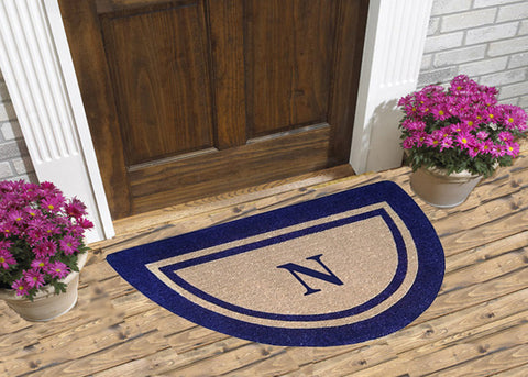 Navy Blue Double Picture Frame - Monogram Half Round Coco Mats
