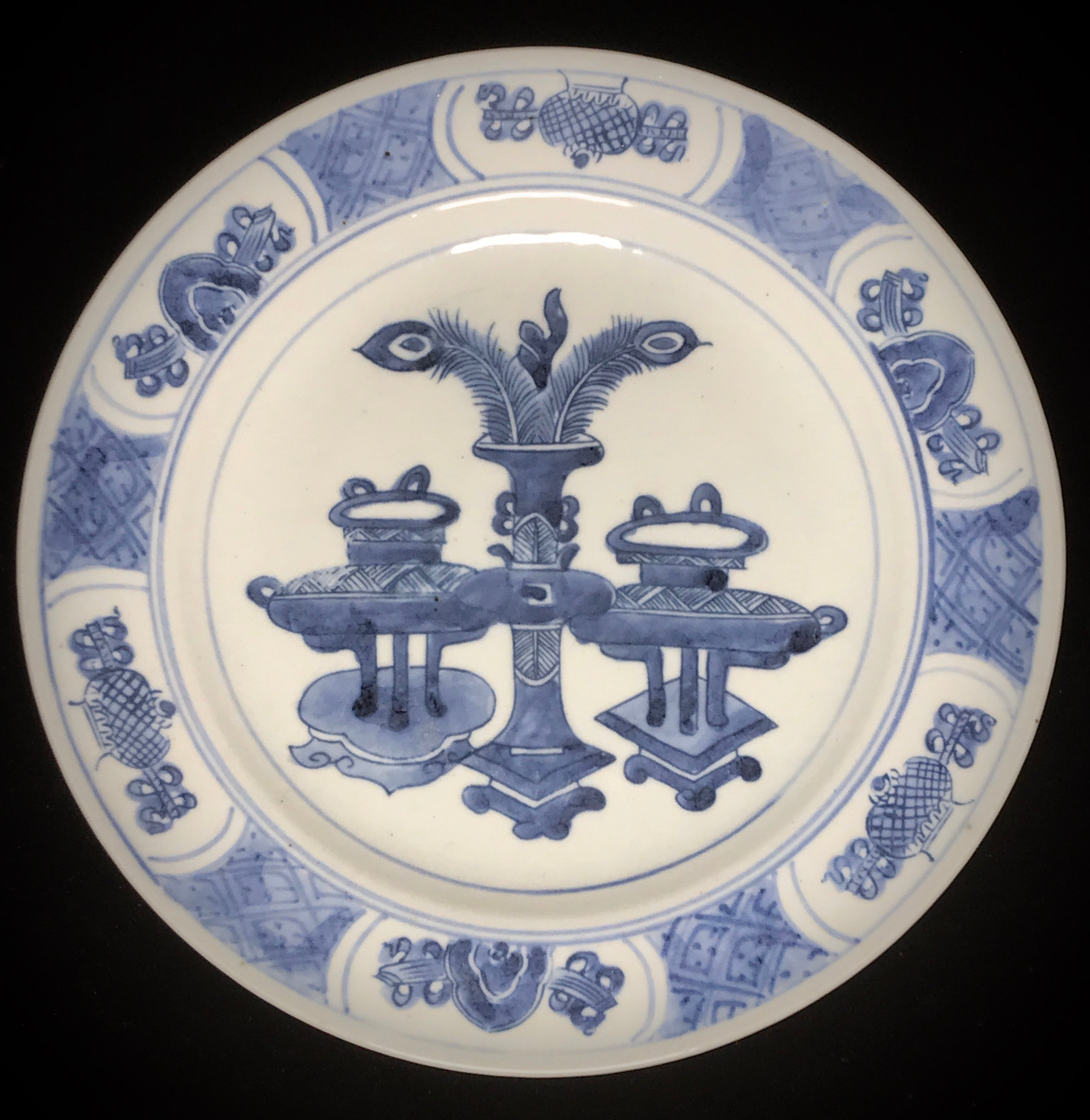 blue and white porcelain dish, Qing dynasty, Kangxi