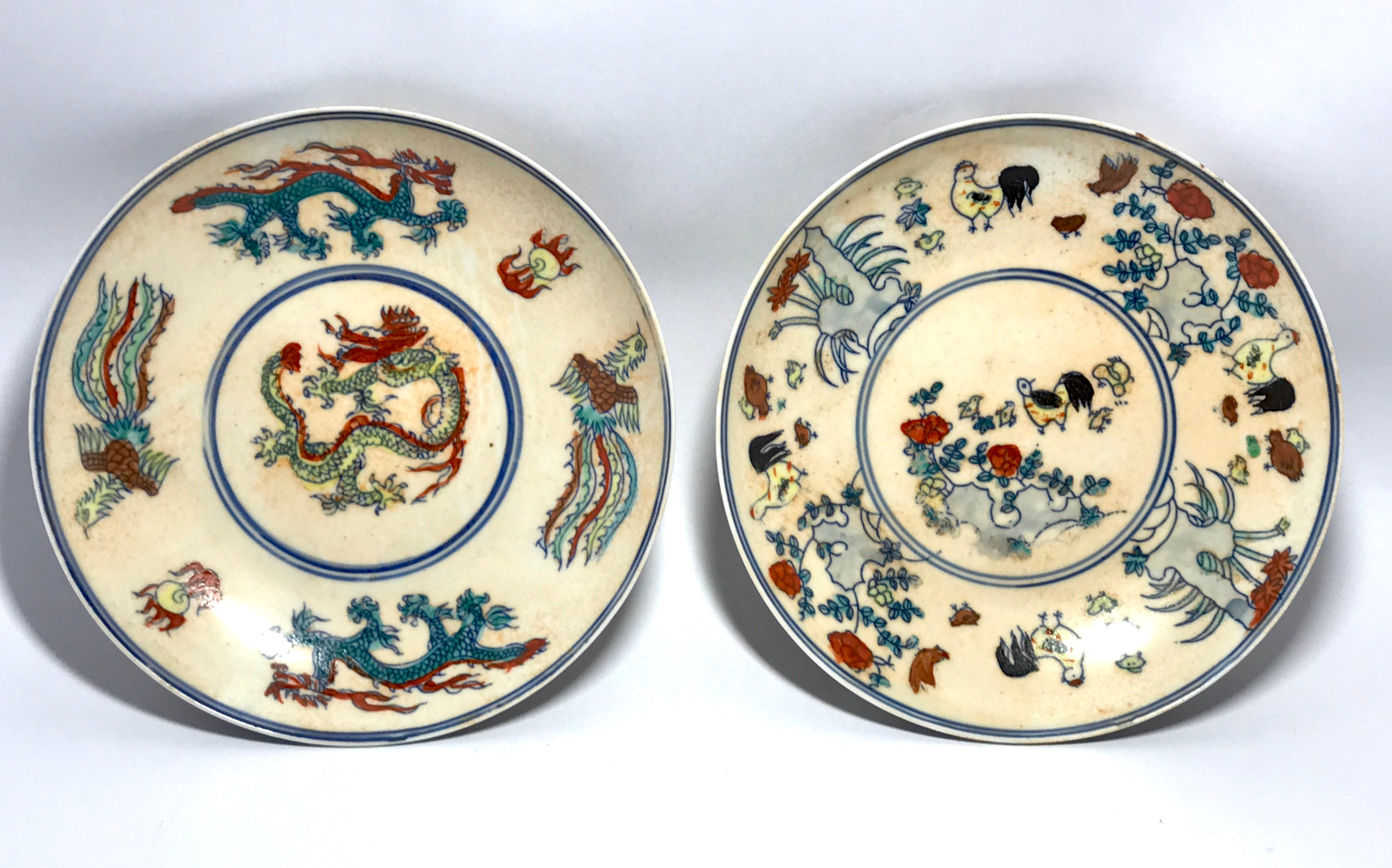 doucai saucer dish with chicken