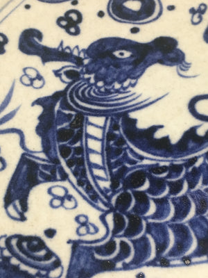 Yuan Dynasty Blue and White Charger with dragon