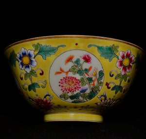 Daoguang Ground Enamel medallion bowl