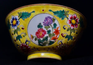 Qing Daoguang Ground Enamal Bowl - 10 Dynasties
