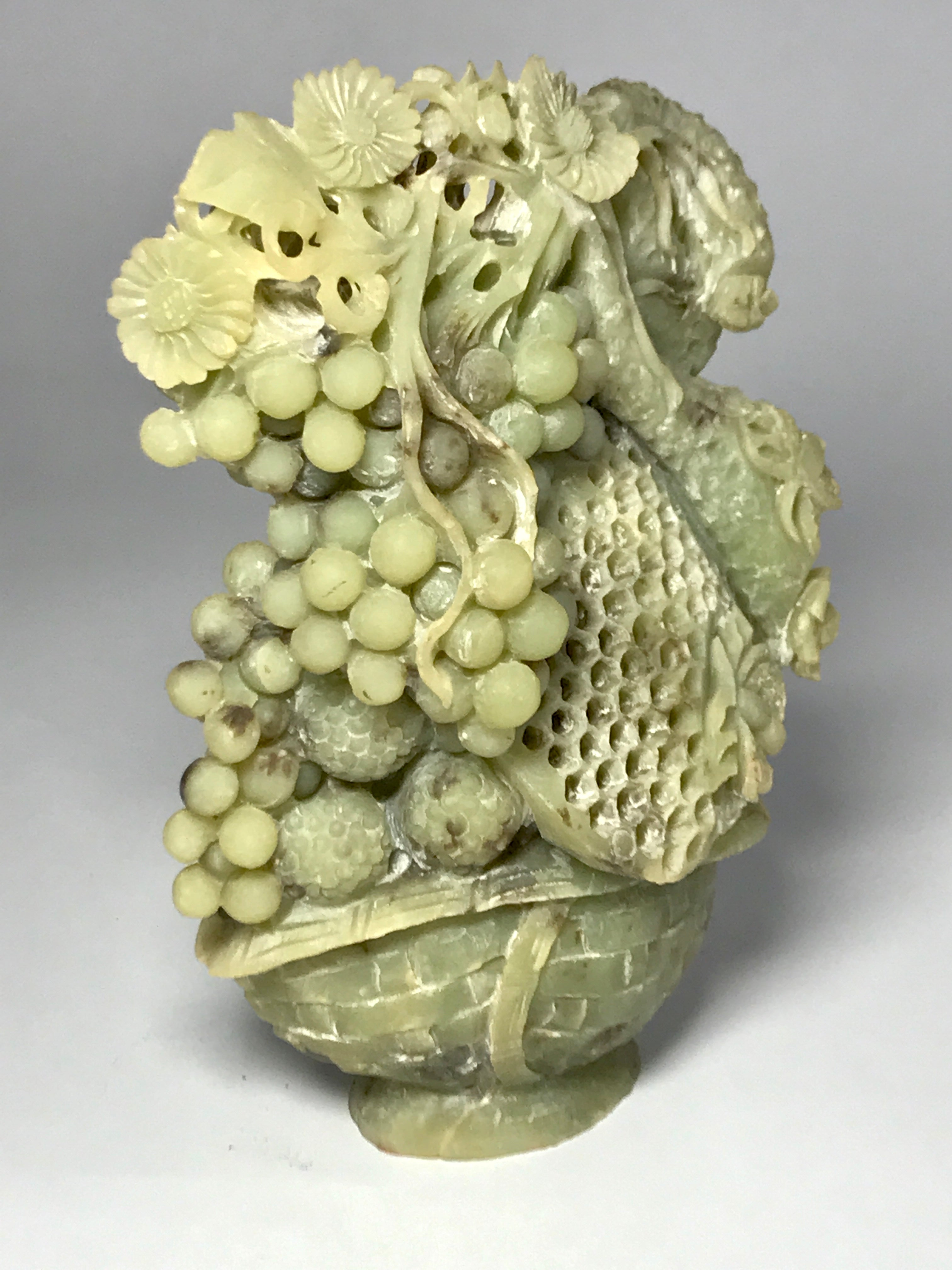fruit basket carved from jade