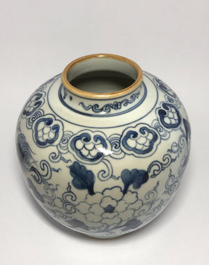 kangxi blue and white jar with rabbit mark