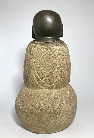 Sitting Buddha Bronze with Gold Splash set in Stone - 10 Dynasties