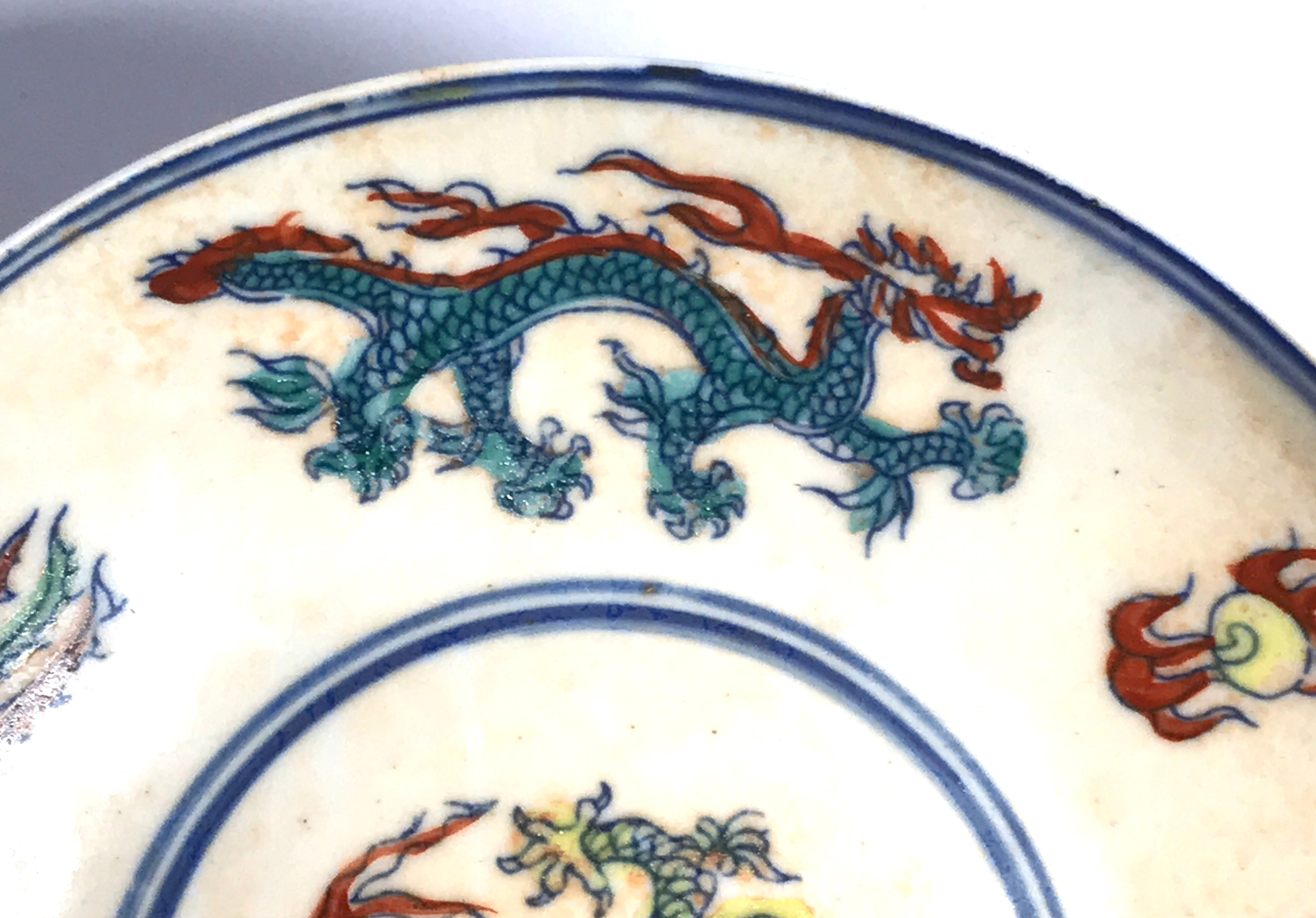 chenghua dish with dragon