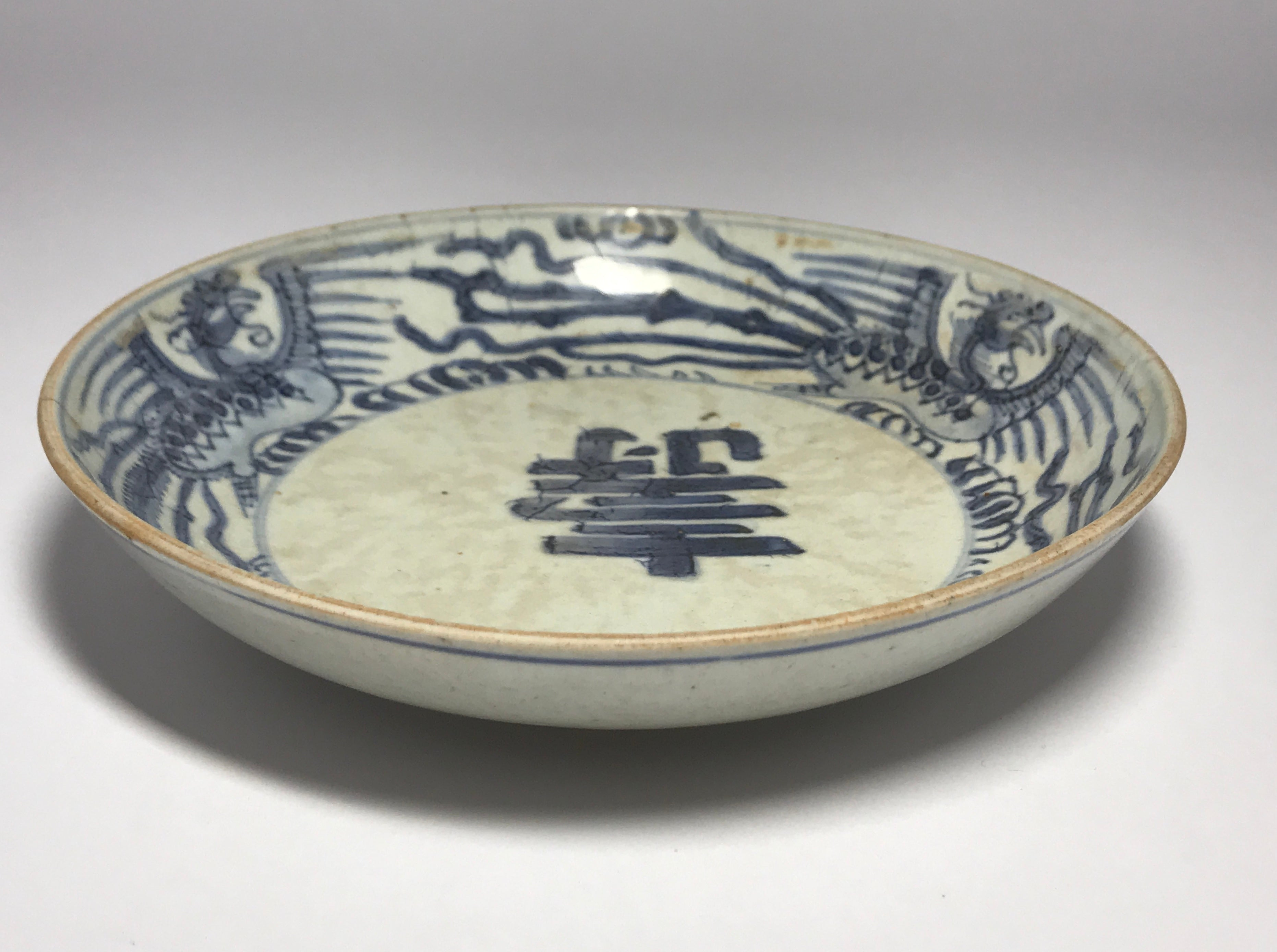blue and white kangxi bowl with phoenix