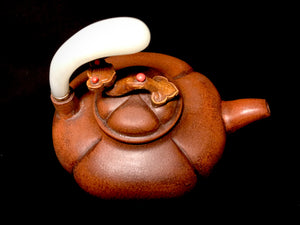 19th Century Yixing Teapot with White Jade Handle - 10 Dynasties